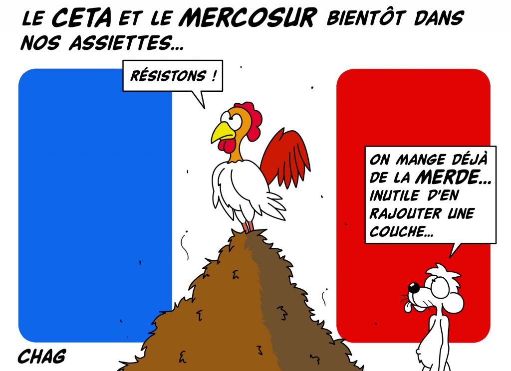 dessin d'humour de Chag sur le CETA et le MERCOSUR