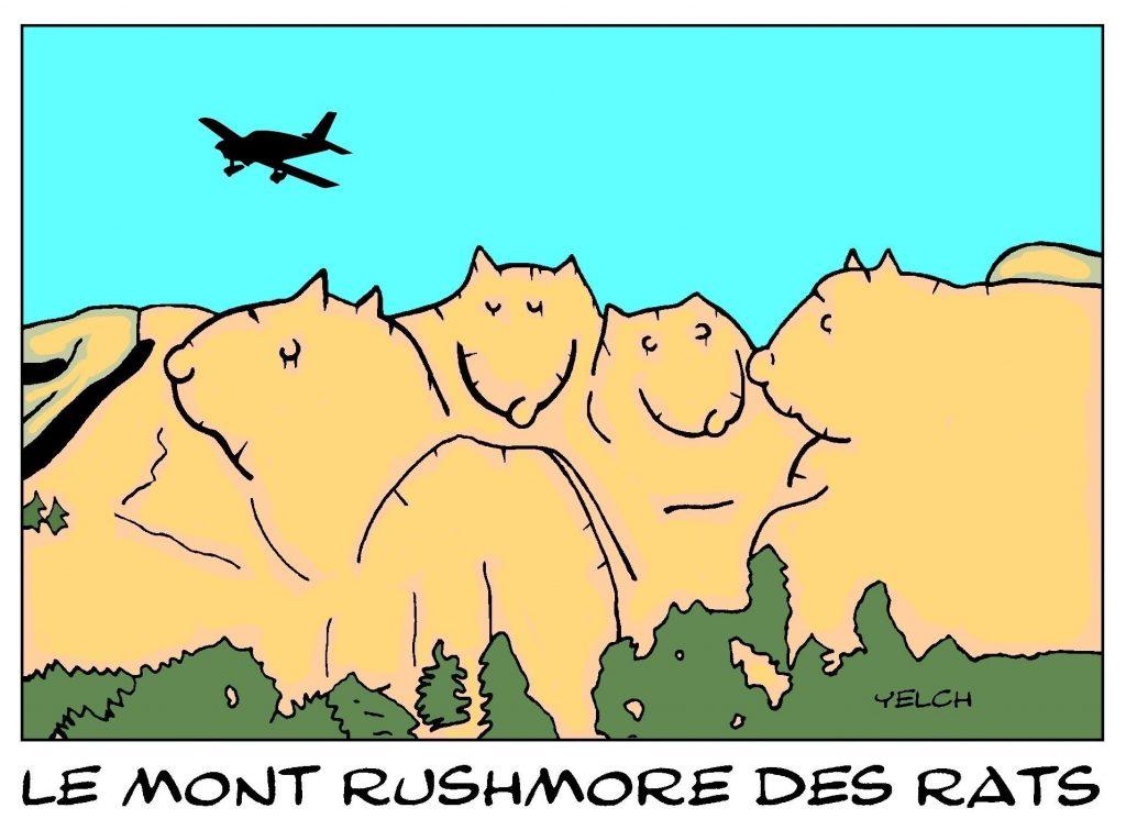 dessin de Yelch sur le Mont Rushmore