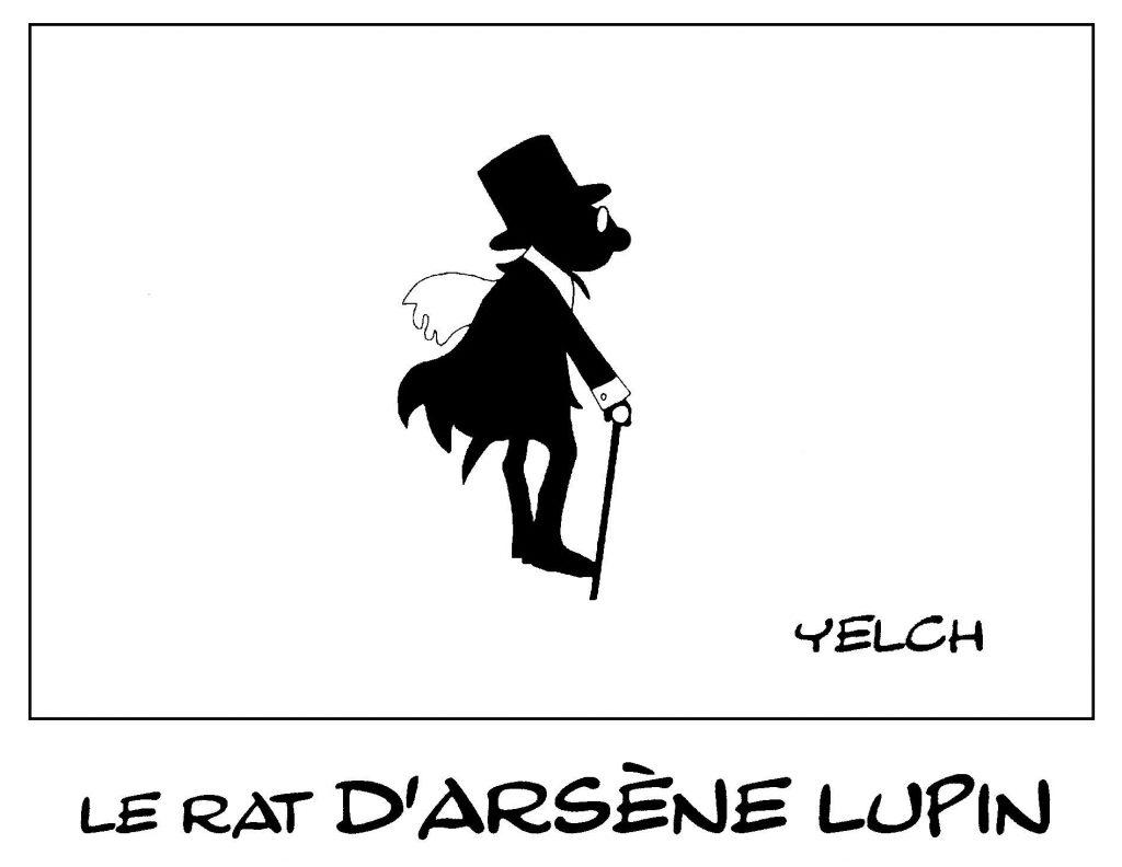dessin de Yelch sur le personnage d'Arsène Lupin de Maurice Leblanc