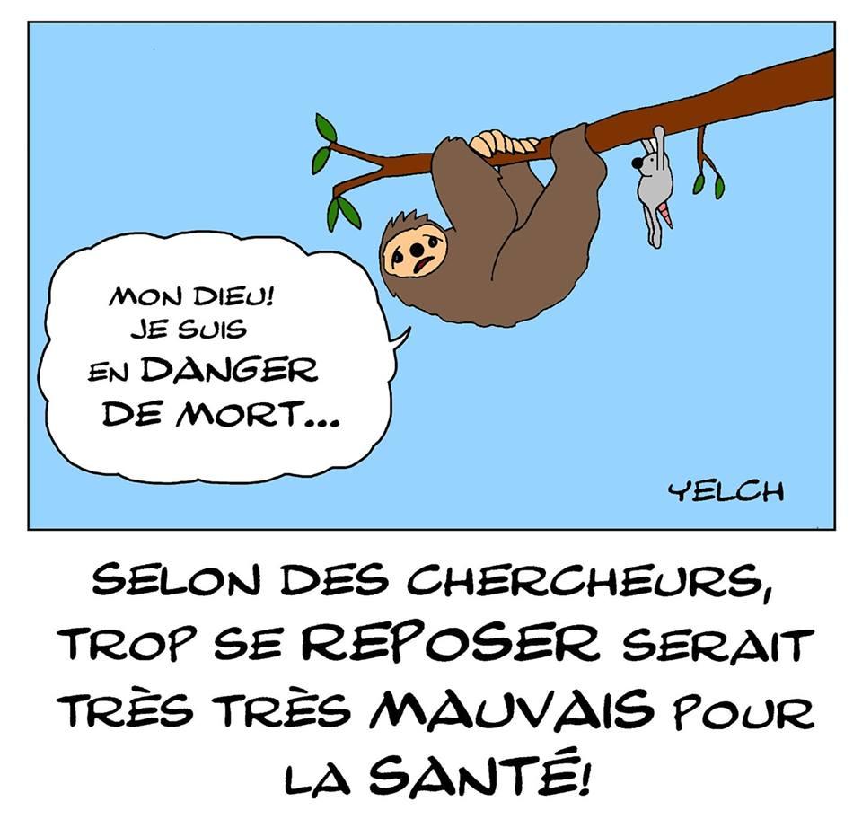 dessin de Yelch sur les paresseux et l'abus de repos