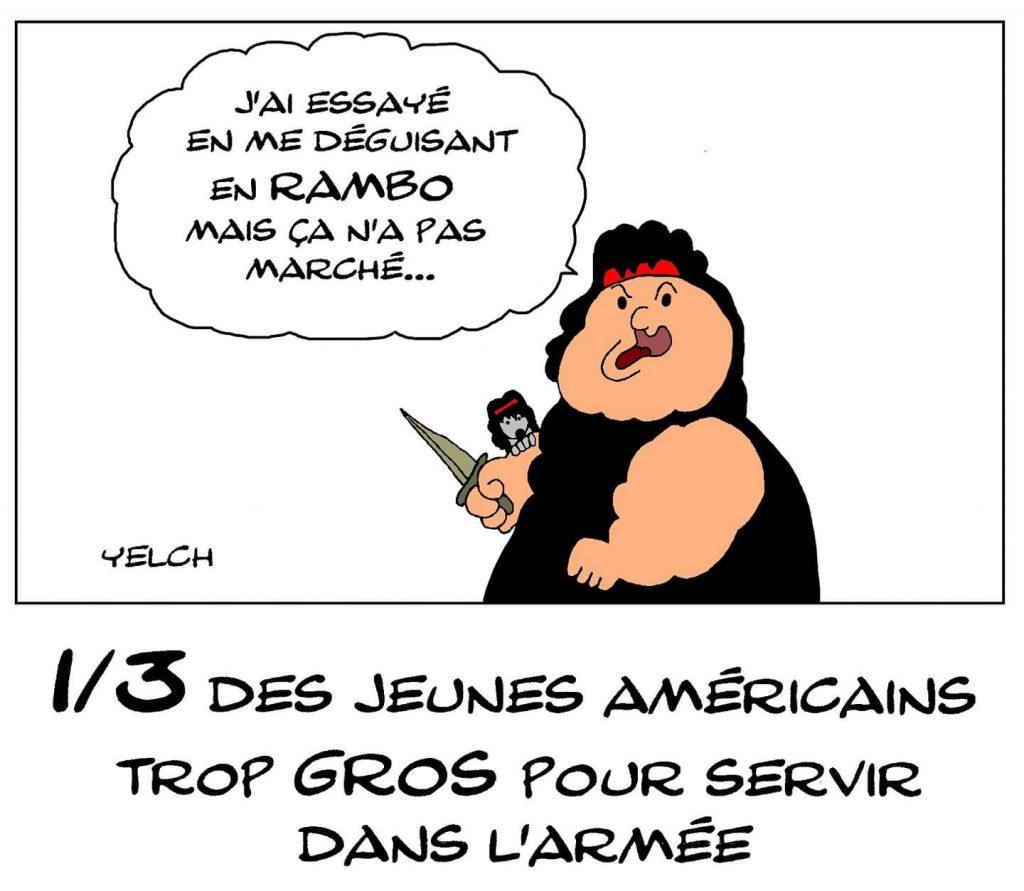 dessin de Yelch sur l'obésité chez les jeunes américains
