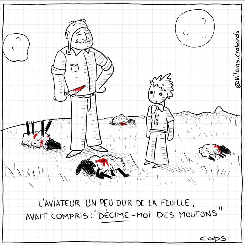dessin de Cops sur Petit Prince de Saint-Exupéry et l'aviateur dur de la feuille