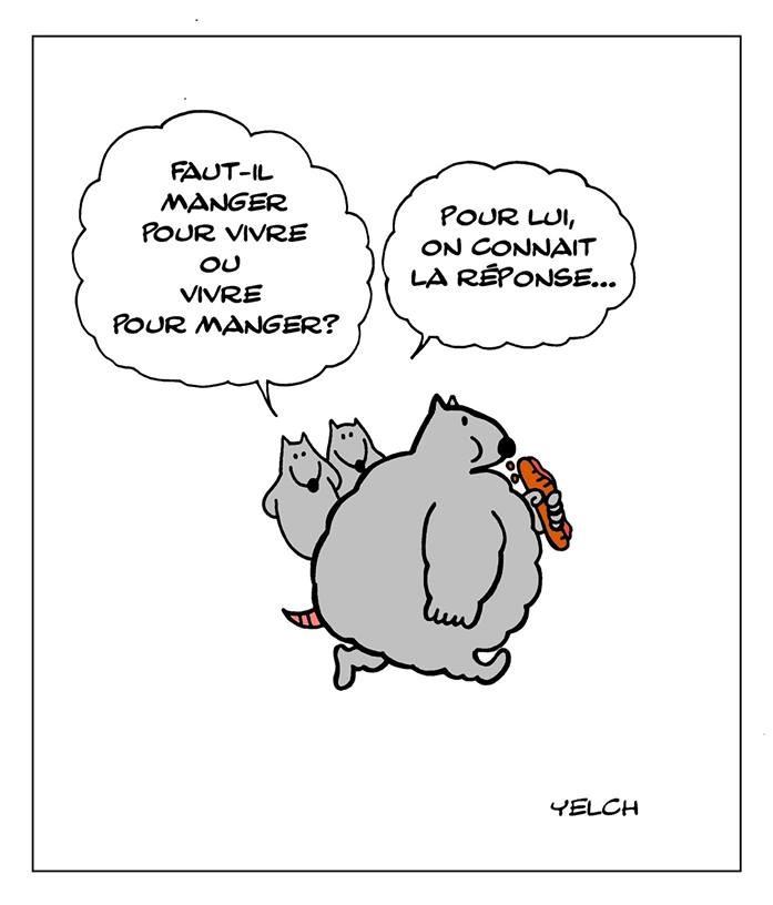 dessin de Yelch sur les gros et le fait de manger pour vivre ou vivre pour manger