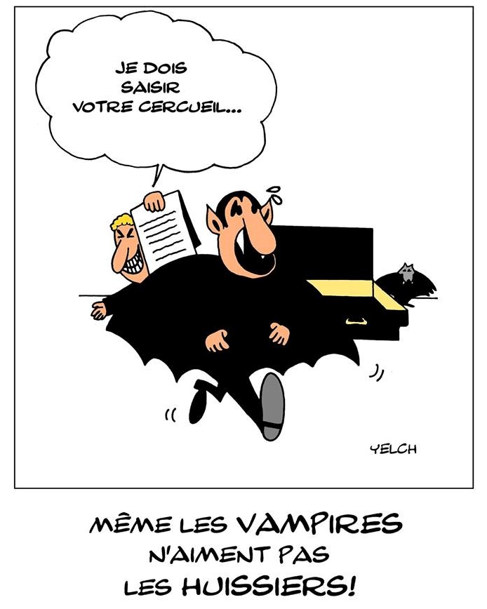 dessin de Yelch sur les vampires et les huissiers