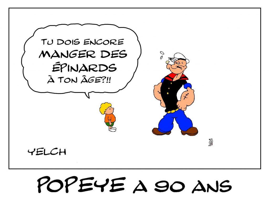dessin de Yelch sur les 90 ans de Popeye