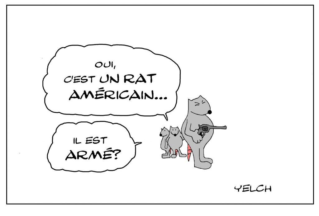 dessin de Yelch sur le problème des armes aux États-Unis