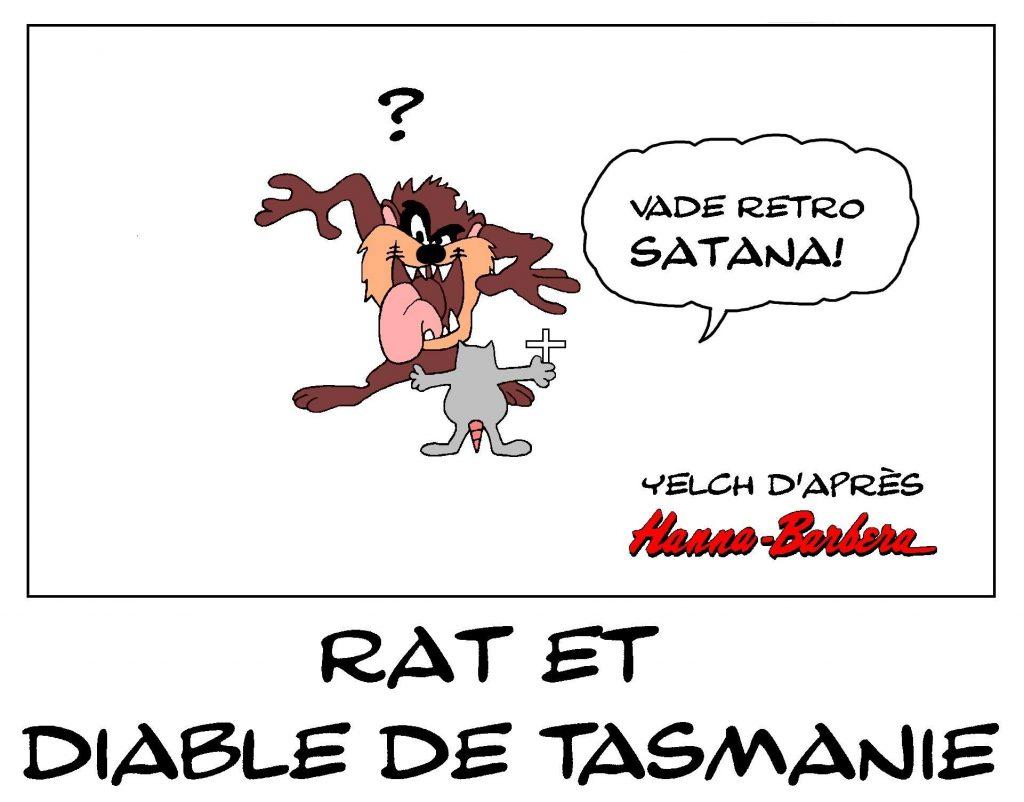 dessin de Yelch sur les diables de Tasmanie et Taz