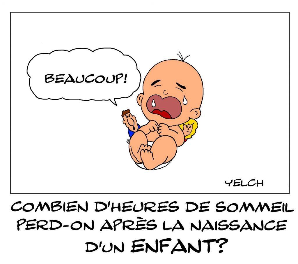 dessin de Yelch sur les heures de sommeil perdus après la naissance d'un enfant