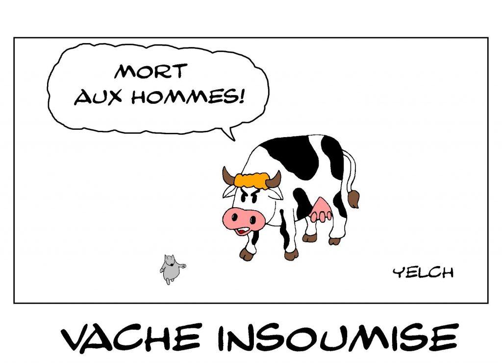 dessin de Yelch sur les vaches et l'expression mort aux vaches