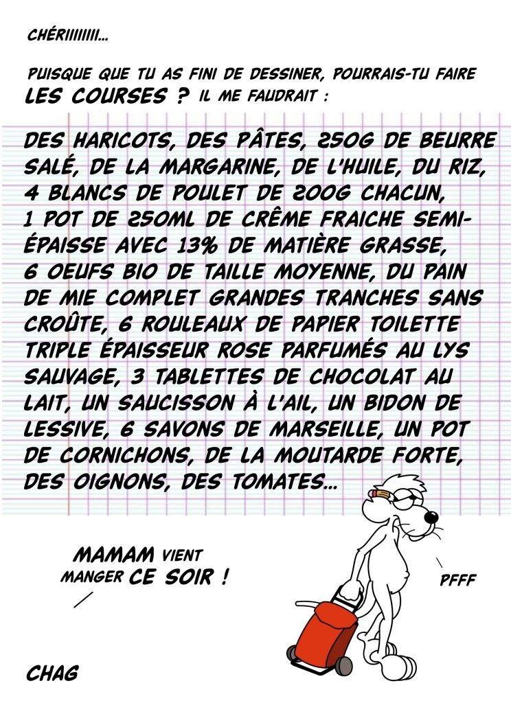 dessin d'humour de Chag sur la vie de couple des dessinateurs