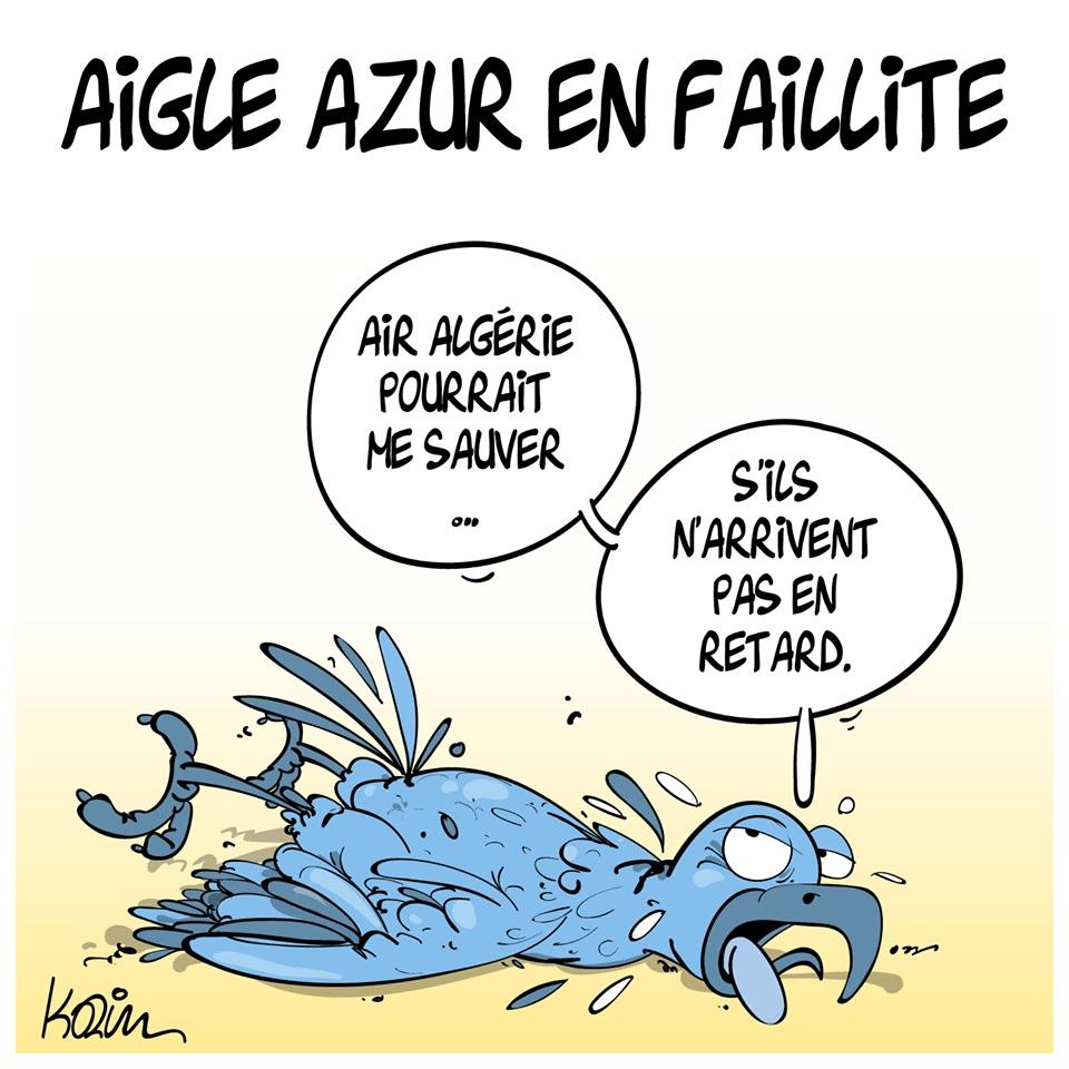 dessin d'actualité humoristique de Karim sur la faillite d'Aigle Azur