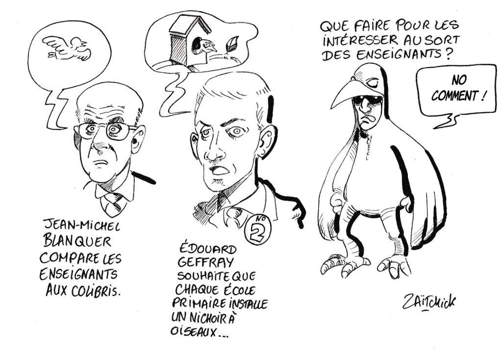 dessin humoristique de Zaïtchick sur la proposition d'Édouard Geffray d'installer un nichoir à oiseaux dans chaque école primaire