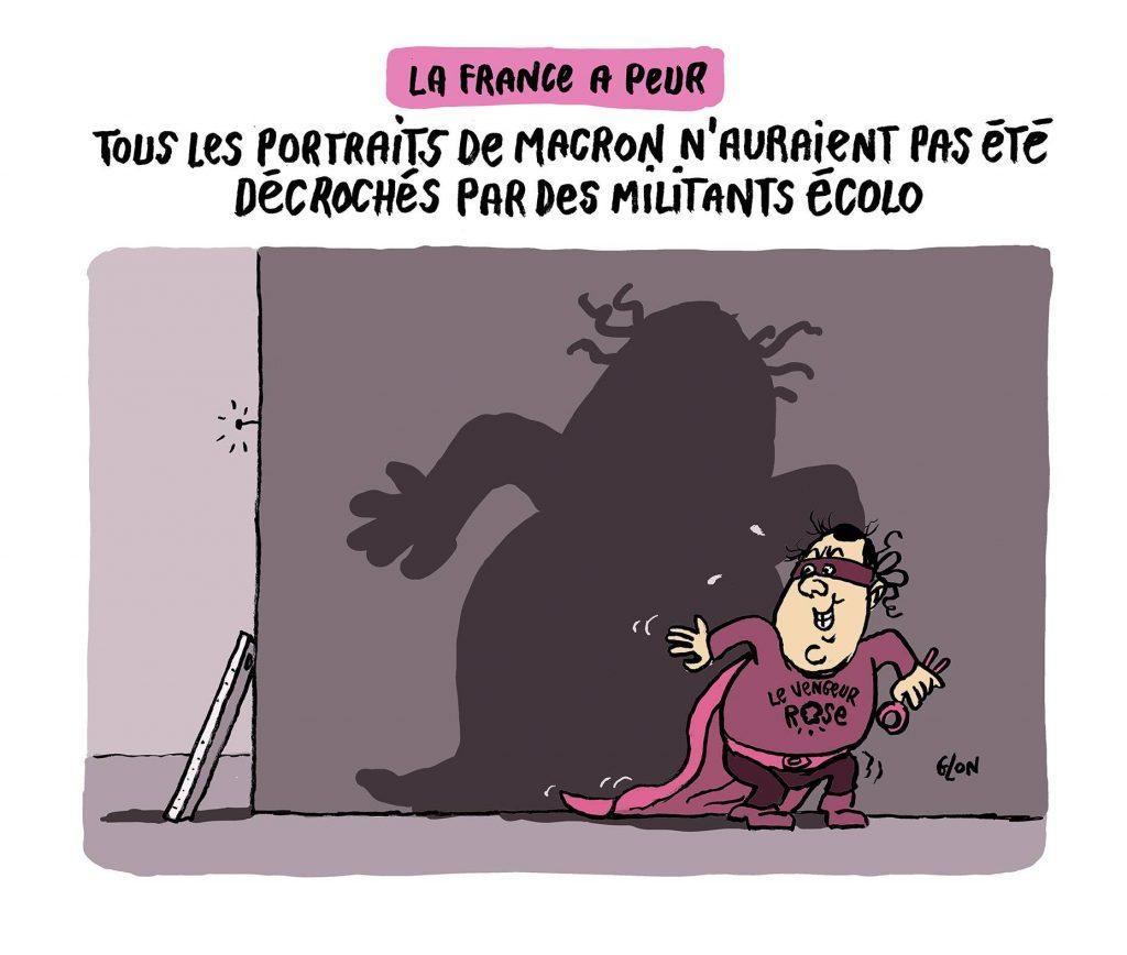 dessin humoristique de Glon sur François Hollande et les décrocheurs de portraits d'Emmanuel Macron