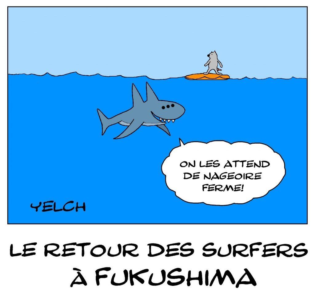 dessin de Yelch sur le retour des surfeurs à Fukushima
