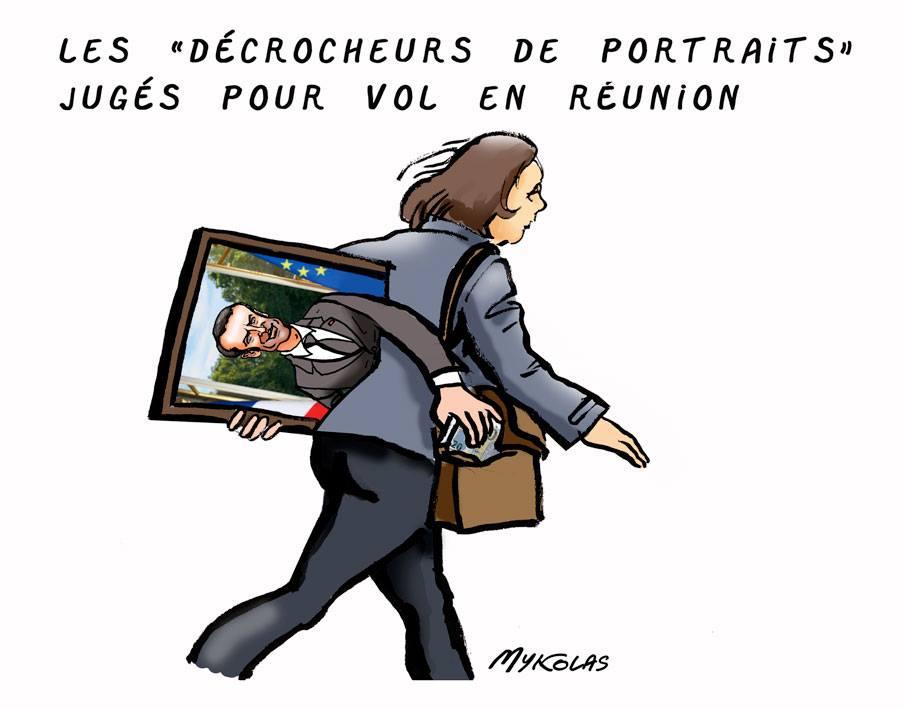 dessin d'actualité humoristique sur le procès pour vol en réunion des décrocheurs de portraits