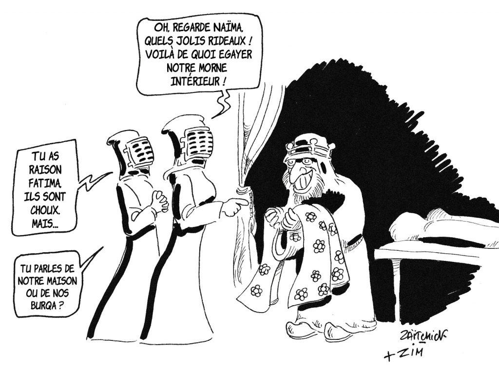 dessin humoristique de Zaïtchick sur la gaieté des féministes islamistes