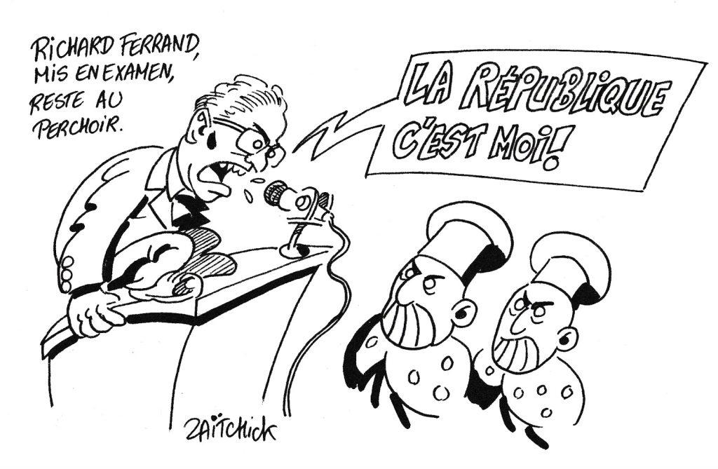dessin humoristique de Zaïtchick sur la mise en examen de Richard Ferrand et son maintien au perchoir de l'Assemblée Nationale