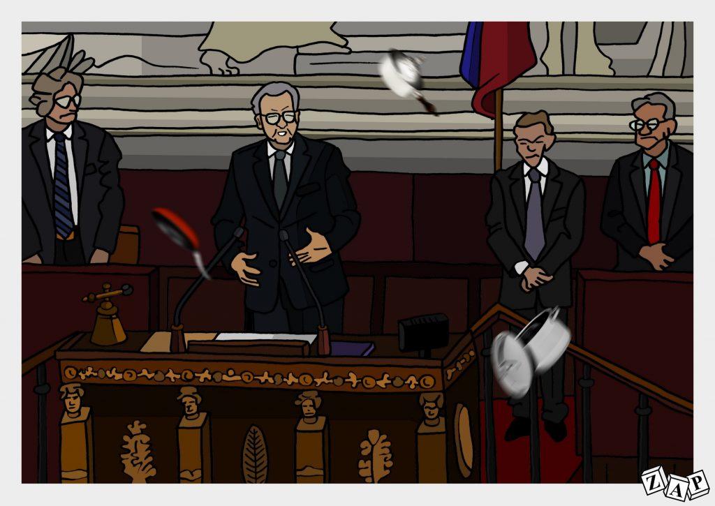 dessin d'actualité de Zap sur la mise en examen de Richard Ferrand et son maintien à la présidence de l'Assemblée Nationale