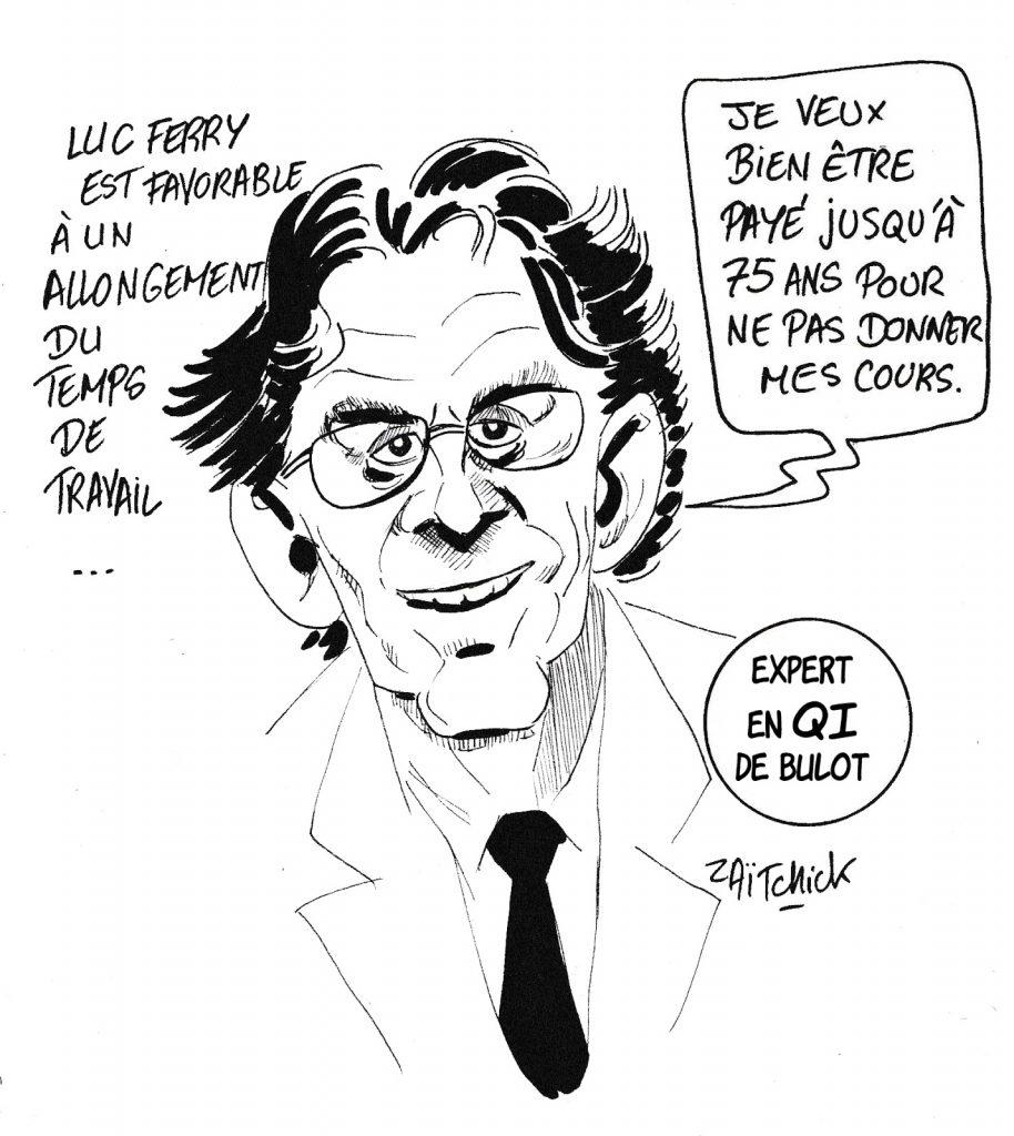 dessin humoristique de Zaïtchick sur Luc Ferry et l'allongement du temps de travail