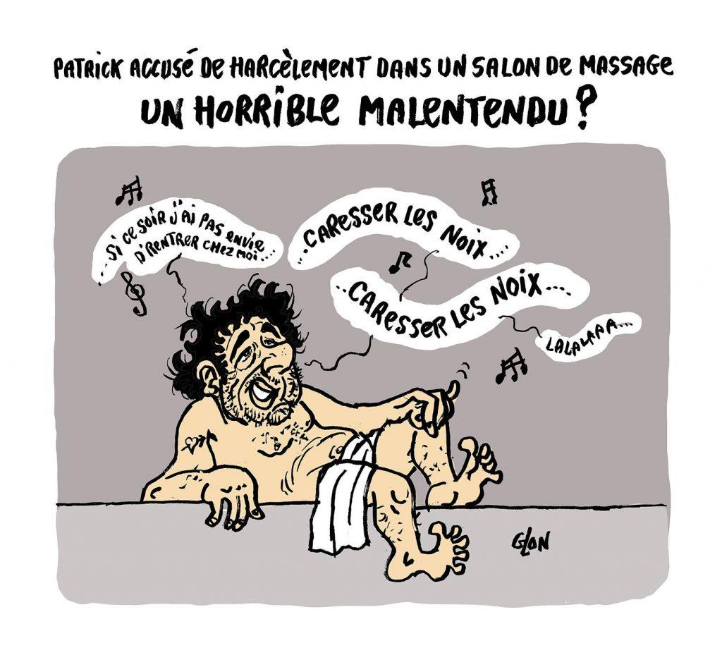 dessin humoristique de Glon sur les accusations d'exhibition et de harcèlement sexuel à l'encontre de Patrick Bruel