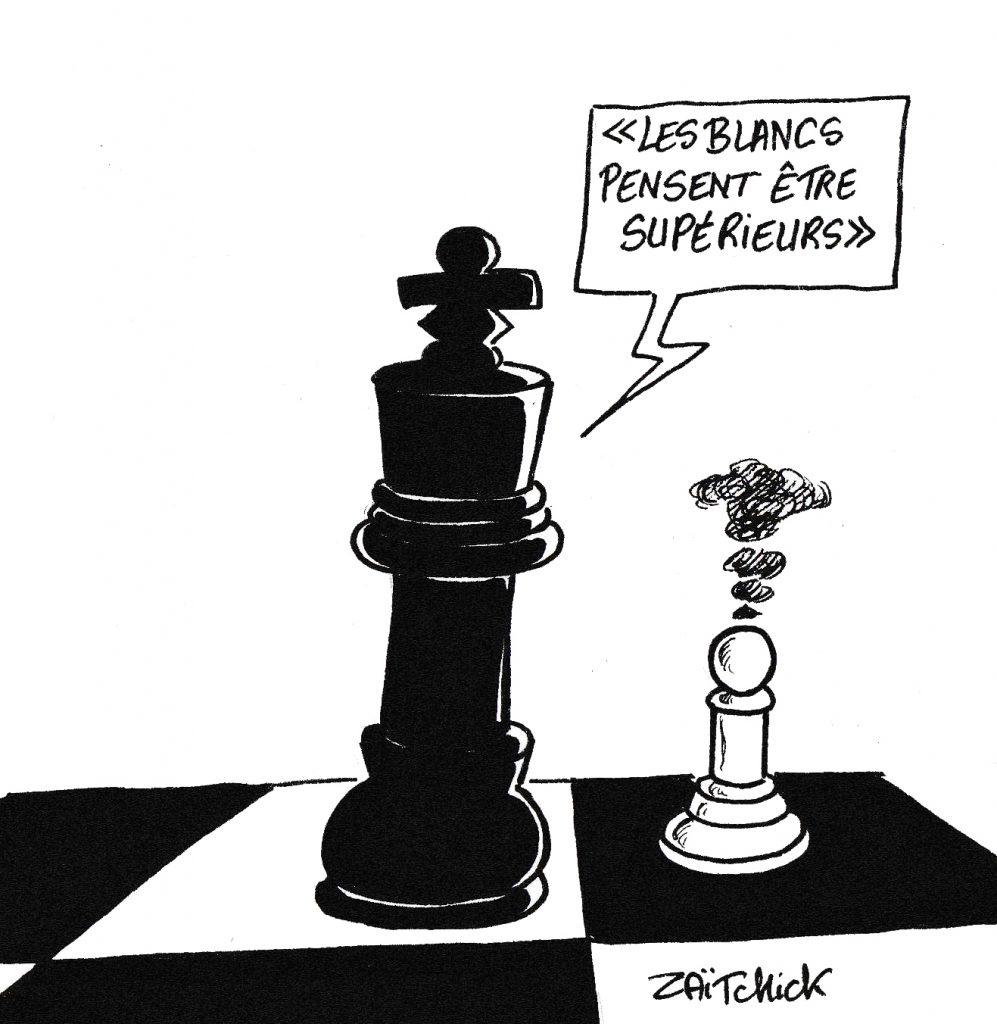 dessin humoristique de Zaïtchick sur la supériorité des blancs et des noirs