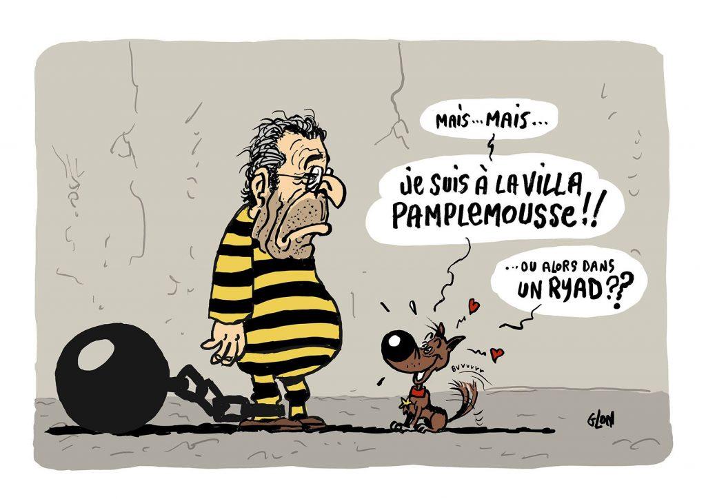 dessin humoristique de Glon sur la condamnation de Patrick Balkany à une peine de prison