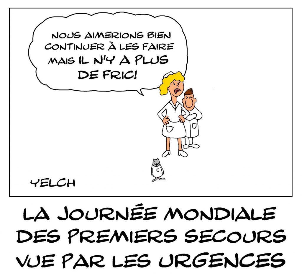 dessin de Yelch sur la journée mondiale des premiers secours et la crise des urgences