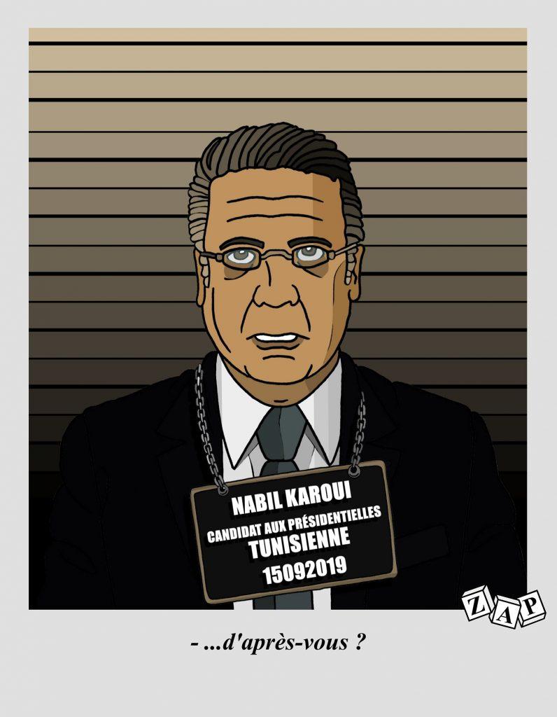 dessin d'actualité de Zap sur la candidature de Nabil Karoui à l'élection présidentielle tunisienne et celle de Patrick Balkany aux municipales de Levallois-Perret