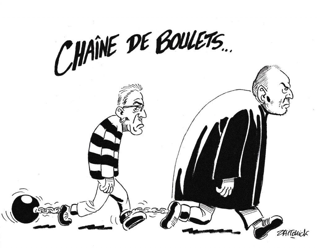 dessin humoristique de Zaïtchick sur l'incarcération de Patrick Balkany et son défenseur Éric Dupond-Moretti