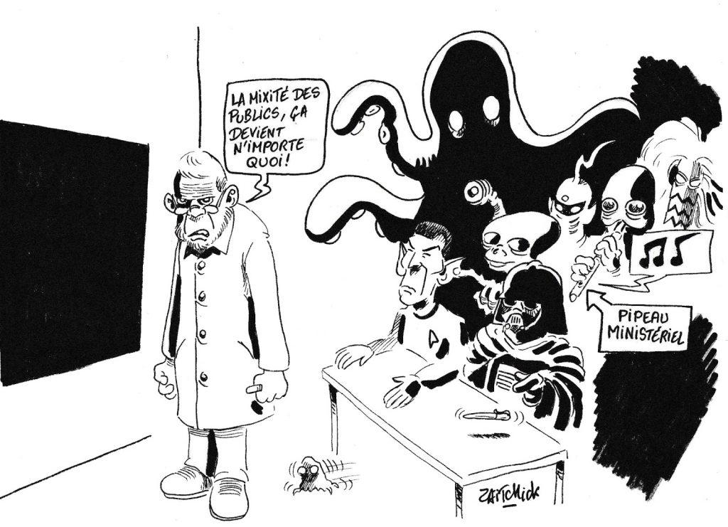 dessin humoristique de Zaïtchick sur la mixité des publics dans l'école française