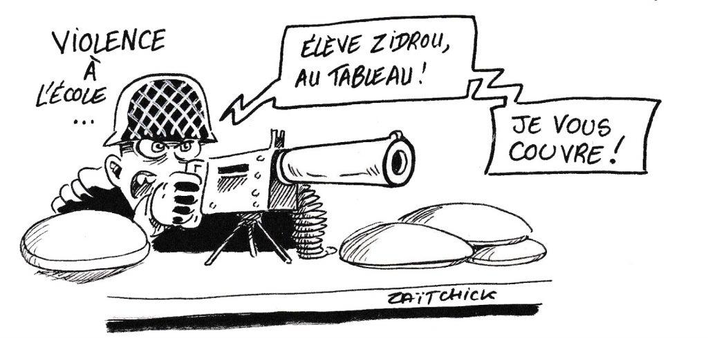 dessin humoristique de Zaïtchick sur les violences à l'école