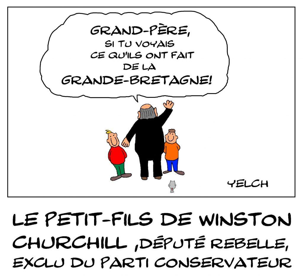 dessin de Yelch sur l'exclusion de Nicholas Soames, petit-fils de Winston Churchill, du parti conservateur