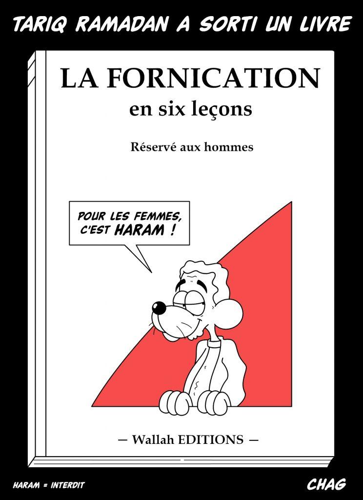 dessin d'humour de Chag sur la publication du livre de Tariq Ramadan « devoir de vérité »