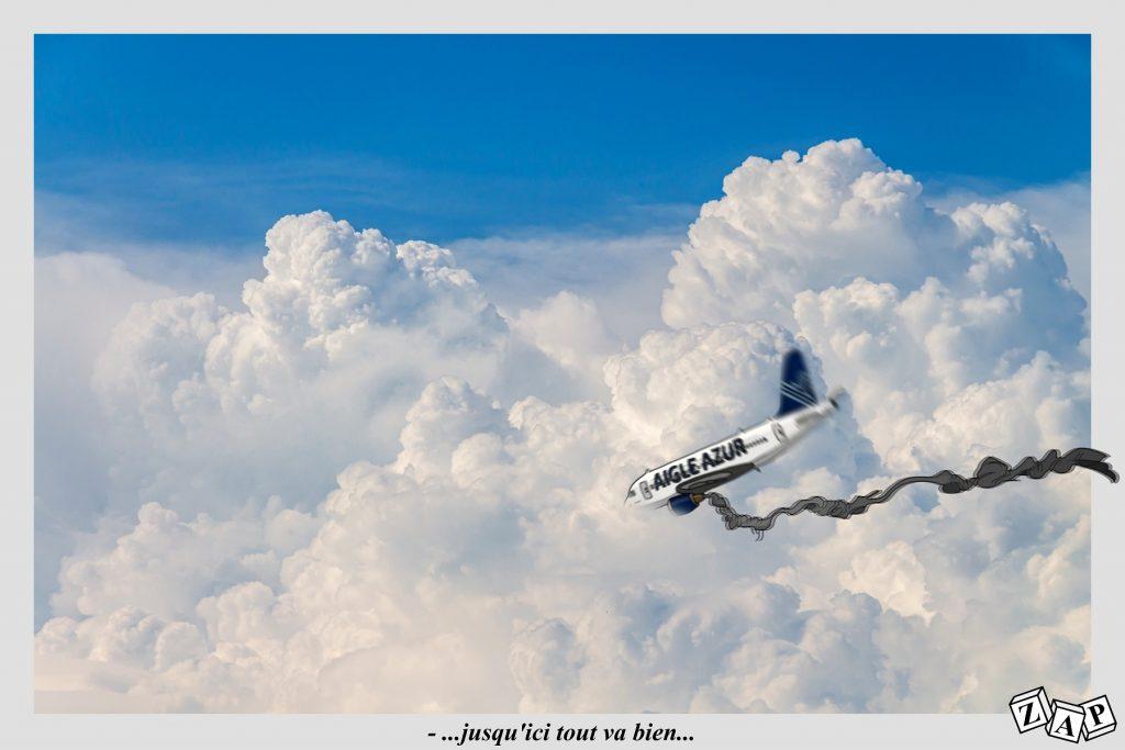 dessin d'actualité de Zap sur la mise en liquidation judiciaire de la compagnie aérienne Aigle Azur
