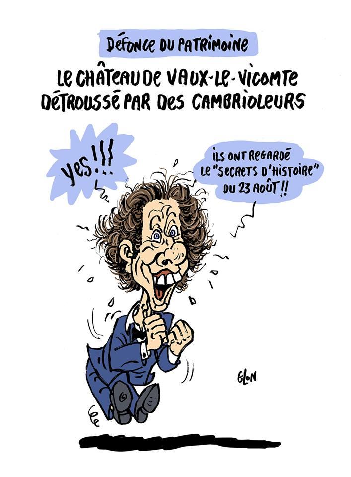 dessin humoristique de Glon sur le cambriolage du château de Vaux-le-Vicomte