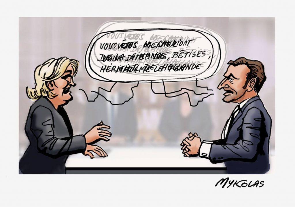 dessin d'actualité humoristique sur le face à face entre Emmanuel Macron et Marine Le Pen