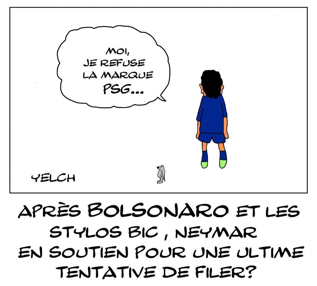 dessin de Yelch sur les Neymar da Silva Santos Junior et son désir de quitter le PSG