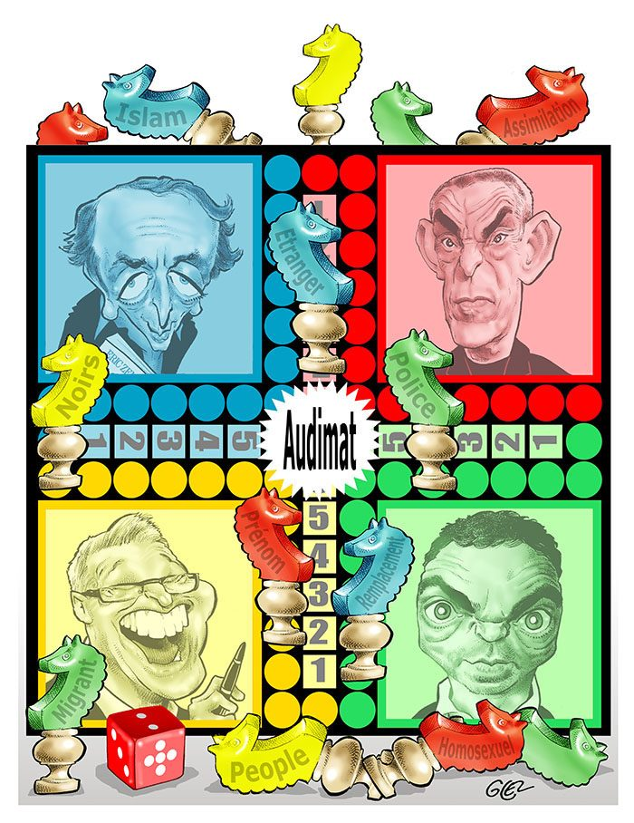 dessin humoristique de Glez sur le jeu des polémiques destinés à faire grimper l'audimat
