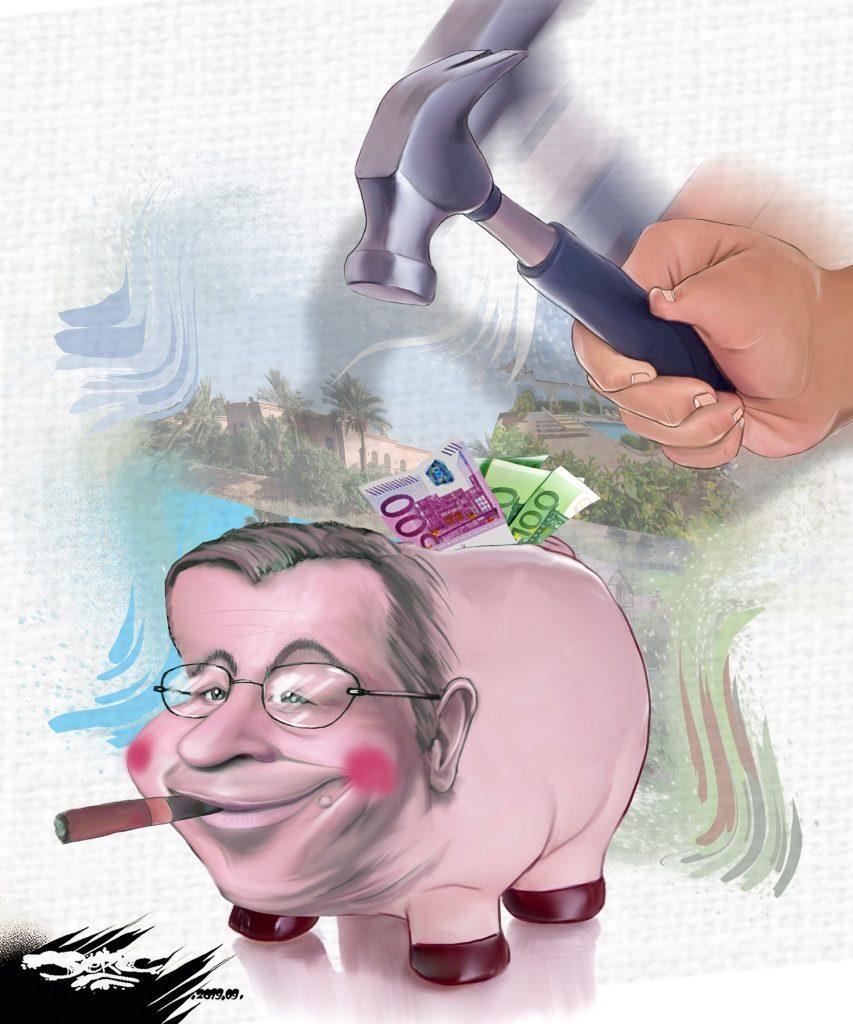 dessin d'actualité humoristique de Jerc sur l'incarcération de Patrick Balkany pour fraude fiscale