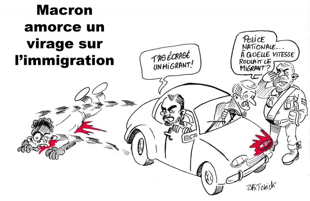dessin humoristique de Zaïtchick sur le virage politique d'Emmanuel Macron sur l'immigration