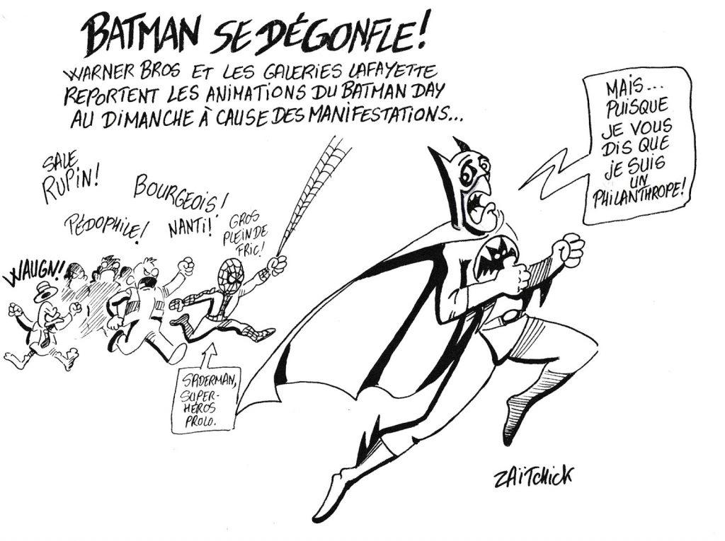 dessin humoristique de Zaïtchick sur le report des animations du Batman Day en raison des manifestations