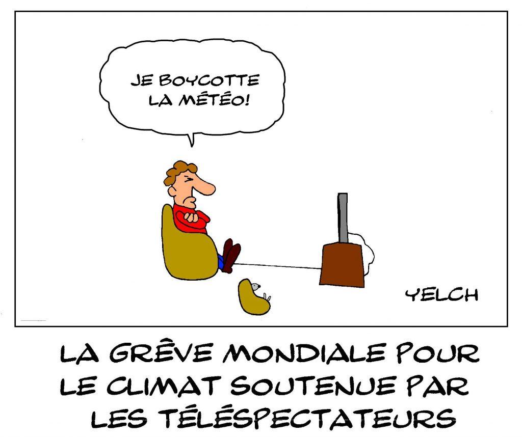dessin de Yelch sur la grève mondiale pour le climat