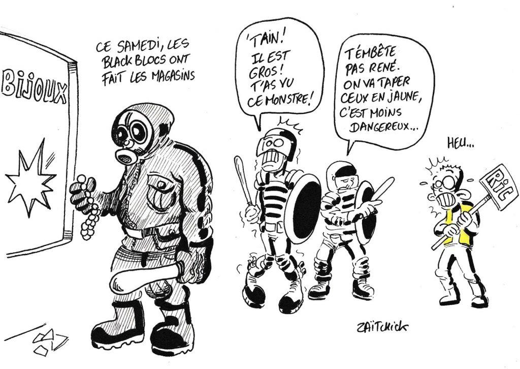 dessin humoristique de Zaïtchick sur les manifestations du samedi 21 septembre et la répression policière ciblée