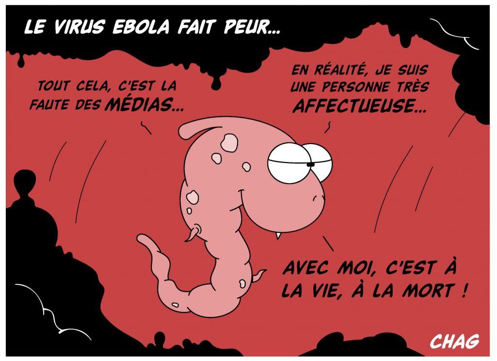 dessin d'humour de Chag sur la peur du virus Ebola