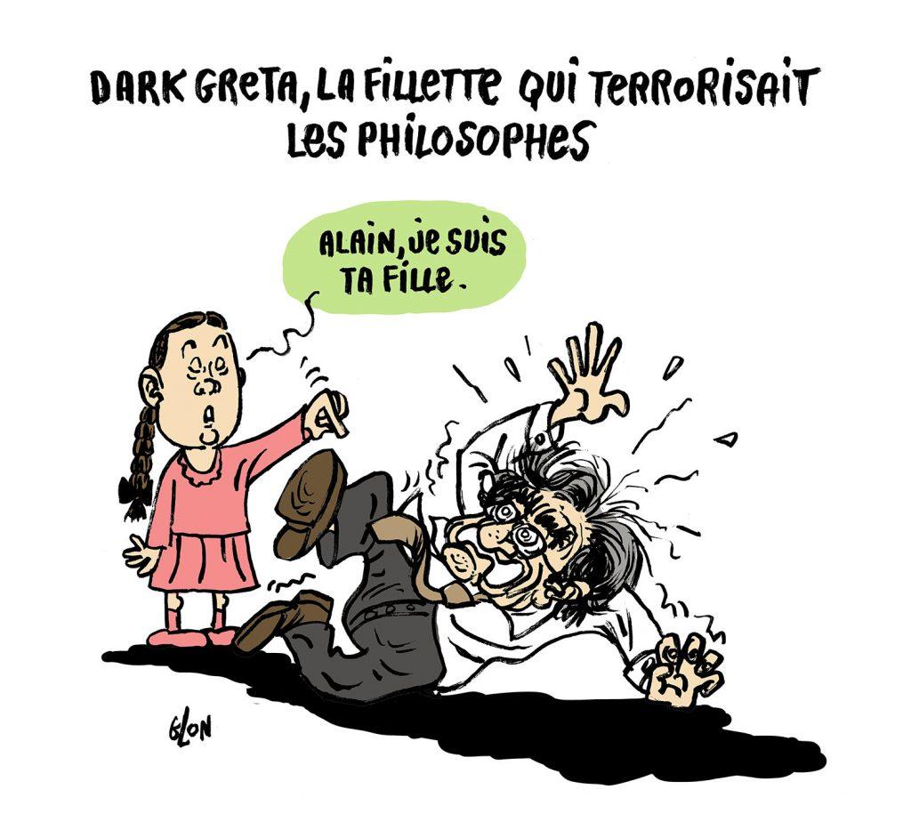dessin humoristique de Glon sur Greta Thunberg et Alain Finkielkraut
