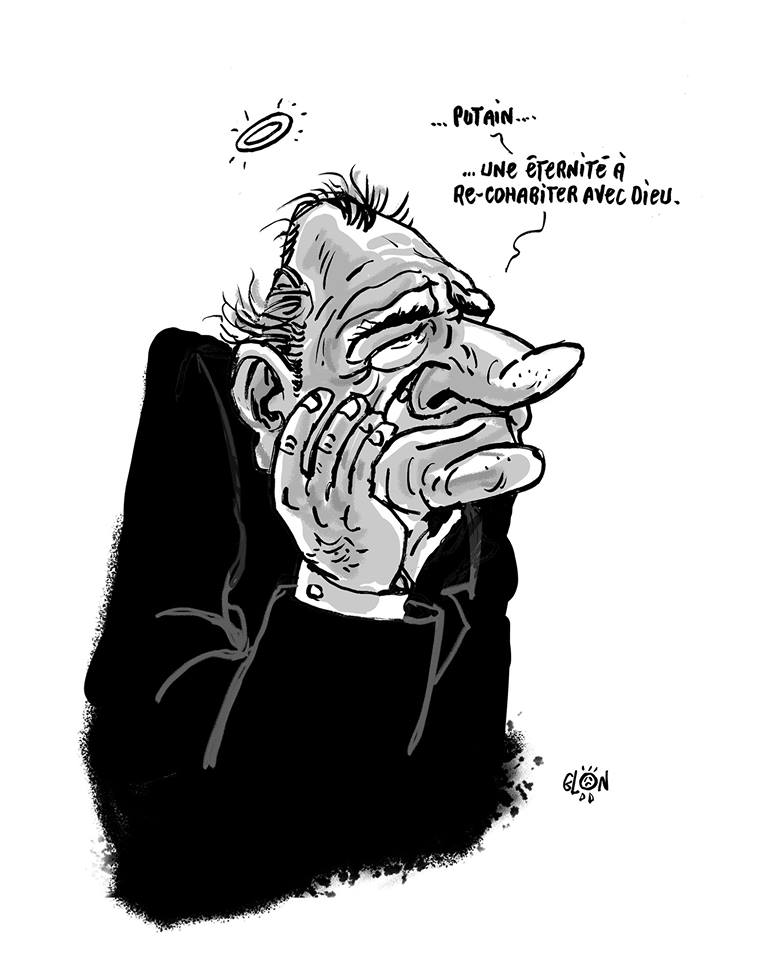 dessin humoristique de Glon sur la mort de Jacques Chirac et sa cohabitation avec François Mitterrand
