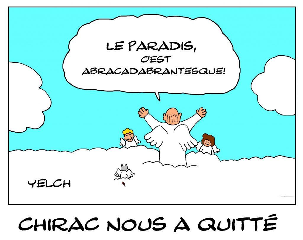 dessin de Yelch sur la mort de Jacques Chirac