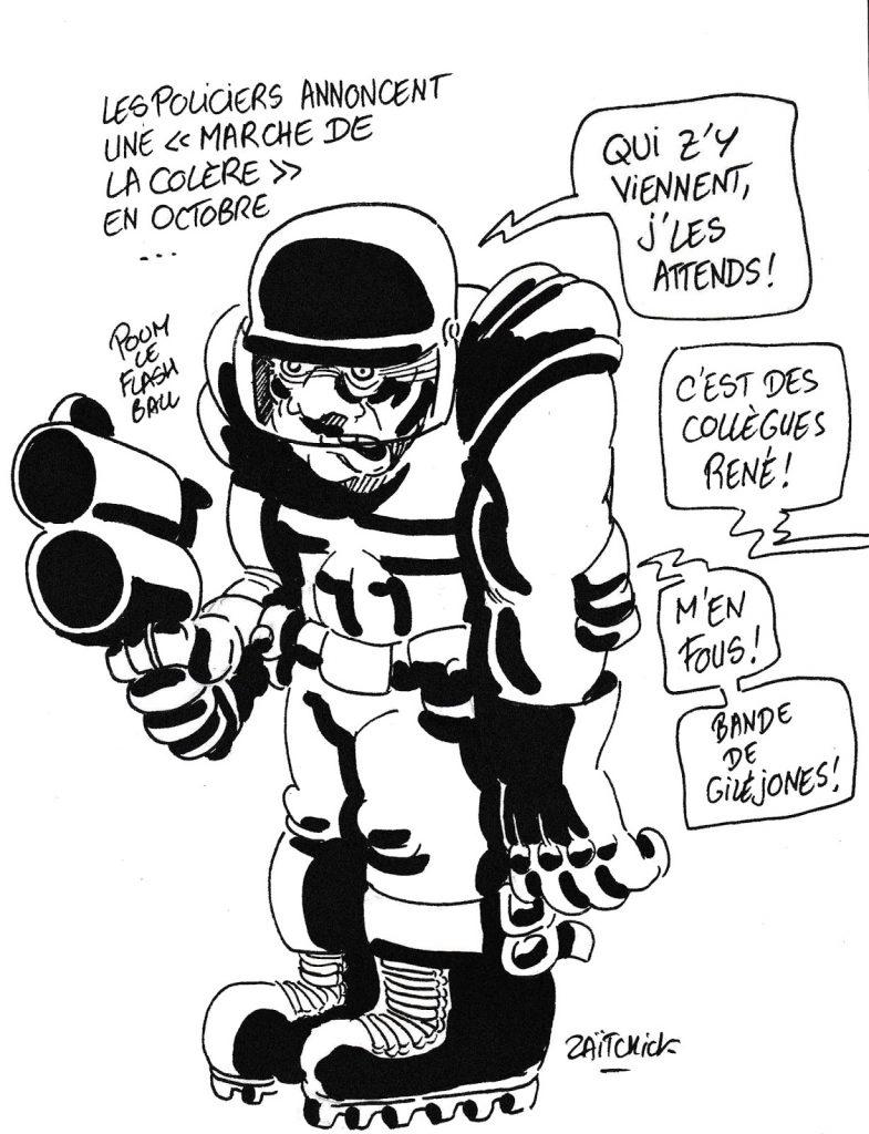 dessin humoristique de Zaïtchick sur la marche de la colère annoncée par les policiers pour Octobre