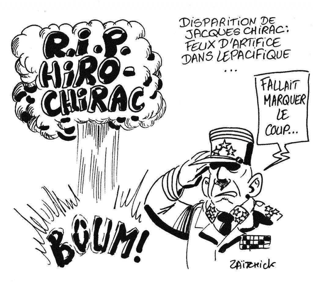 dessin humoristique de Zaïtchick sur la mort de Jacques Chirac et les essais nucléaires français à Mururoa