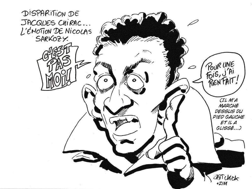 dessin humoristique de Zaïtchick sur la mort de Jacques Chirac et l'émotion de Nicolas Sarkozy